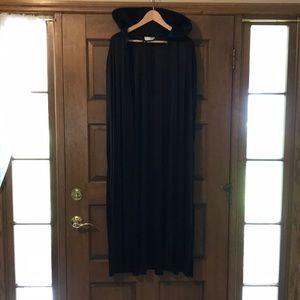 Long black costume cape.